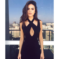Sexy Black Sleeveless Backless One Piece Dress [9753234447]