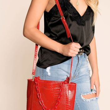 Call The Shots Red Chain Purse