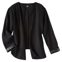 Mossimo® Women's Open Front Blazer w/ Faux Leather Trim -Black