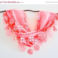 Summer Sale Bright Neon Salmon Peach Color Lace Scarf Office Fashion Gift under 15
