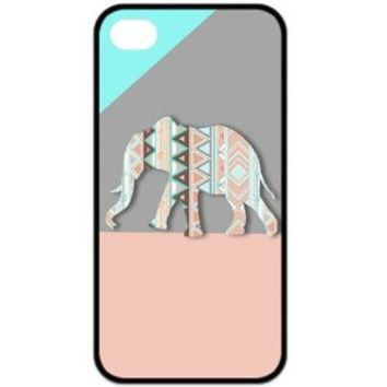 Fashion Zigzag Print Cute Elephant Hard Plastic Case Cover for iPhone 4 4S (H)