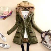 Fashion Solid Color Hooded Gathered Waist Warm Coat - Coats - Clothing