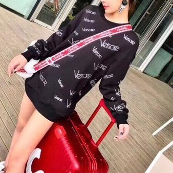 versace women casual fashion velvet rhinestones personality letter pattern medium long section long sleeve thickened sweater