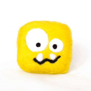 Baby bath toy! Funny soap monster for kids. Handmade felted monster made of yellow wool and natural soap