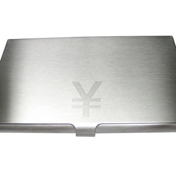 Etched Sleek Japanese Yen Currency Sign Business Card Holder