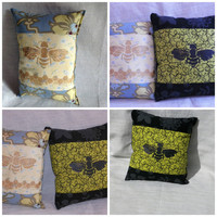 Mini Decorative Pillow Screenprint Black Bee on Green or Golden Bee on Blue Your Choice of One