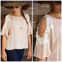 SZ LARGE Fairfax Nude Cold Shoulder Top