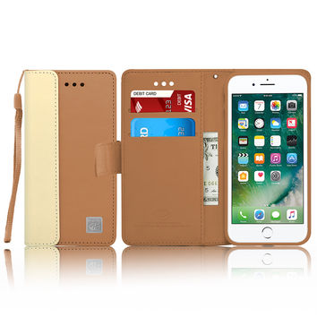 IPhone 7 Leather Wallet Pouch Card Slot Case Cover Brown