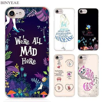BINYEAE Alice in Wonderland Anime Clear Cell Phone Case Cover for Apple iPhone 4 4s 5 5s SE 5c 6 6s 7 Plus