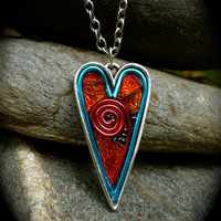 Mosaic Heart Necklace made with gorgeous art glass and other goodies on silver plated base