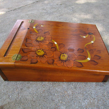 Vintage Wood Lap Desk w/ Handpainted Floral Design, Wood Writing Desk Perfect for a Girl's Room, Portable Desk, Travel Table, Writing Table