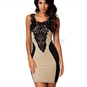 5 Colors 2017 New Black Embroidery Bodycon Women Summer Dress