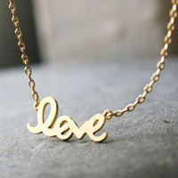 Gold Love Necklace Love Charm Necklace Gold I Love You Jewelry from Kellinsilver.com