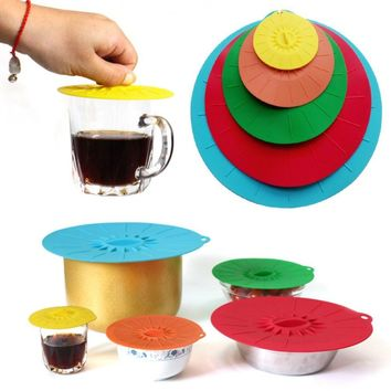 5pcs/set Silicone lid Spill Stopper Cover For Pot Pan Microwave Food Bowl Pan Lid Covers Storage Suction Lid for Fresh