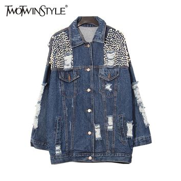 [TWOTWINSTYLE] 2017 Autumn Heavy Beading Pearls Ripped Holes Washed Denim Outerwear Jacket Women Basic Coat New Fashion