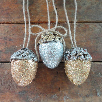 Chunky Glitter Acorn Ornaments in Shimmery Gold, Bronze and Silver Colors