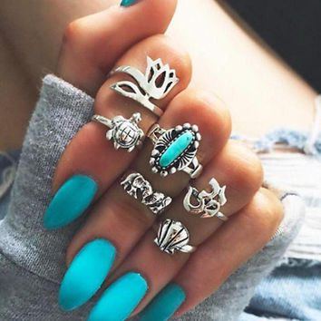 LMFON 6 Pcs Retro Turquoise Elephant Flower Turtle Mid Finger Knuckle Ring Set Women Fashion Jewelry