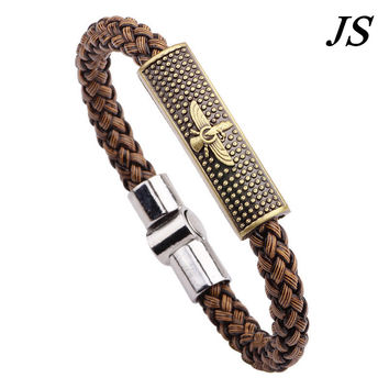 JS Cool Mens Eagle Bracelet Leather Cuff Handmade Braided Friendship Braclet Charm Birds Braslet Woman Accessories Jewelry LB016