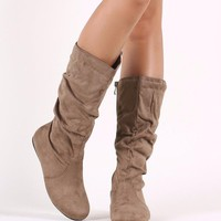 Suede Slouchy Round Toe Mid Calf Flat Boots