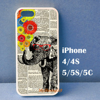 Elephant with Sunglasses and Sunflowers iPhone 4 case, iPhone 4S Case, iPhone 5 case, iPhone 5S Case, iPhone 5C case