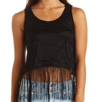 LACE FRINGE CROPPED TANK TOP