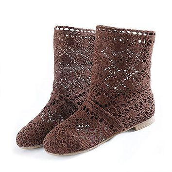 High Quality Breathable Mesh Summer Boots Women Flat Heel Ankle Boots 2017 Summer Womens Boots Fashion Cut-Outs Brand ZH262