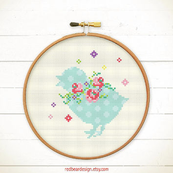Easter cross stitch pattern - Chick with Floral Wreaths - Modern Funny Easter xstitch pattern happy spring flower cute chick rabbit shadow