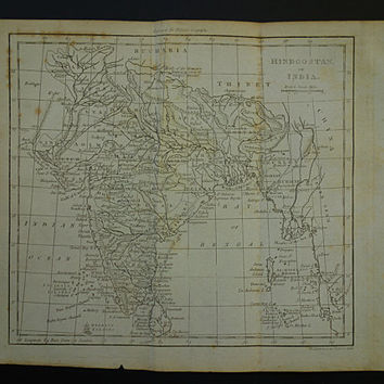 INDIA vintage map 1807 original 200+ years old antique map of India Hindoostan - Indian empire Nepal vintage maps - Delhi Jaipur Sri Lanka