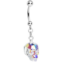 Aurora Crystal Skull Dangle Belly Ring MADE WITH SWAROVSKI ELEMENTS | Body Candy Body Jewelry