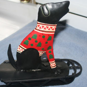 Tin Dog on Sled Holiday Home decor,Christmas Decor