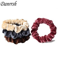Velvet Velour Shiny Trim Glittered Hair Scrunchie For Women Ponytail Donut Grip Loop Holder Stretchy Hair band Hair Accessory