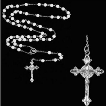 2017 Fashion Imitate Pearl Ball Beads Rosary Cross Pendant Necklace Jesus Long Chain Catholic Jewelry Religious Pray Gift