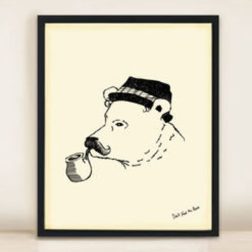 Bear In Trilby And Pipe A3 Print
