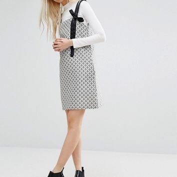 STYLENANDA Pinafore Layer Shift Dress in Print at asos.com