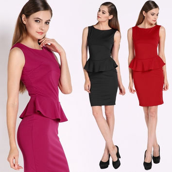 Elegant Women Peplum Cotton Work Business Slim Party Bodycon Pencil Dress  F_F = 1902545284