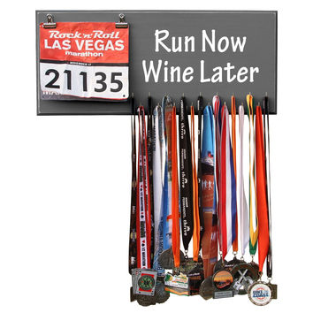 RUN NOW WINE LATER - Running Marathon Medal Display, Holder, Hanger