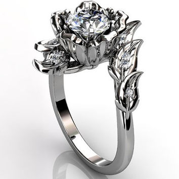 14k white gold diamond unusual unique floral engagement ring, bridal ring, wedding ring ER-1071-1