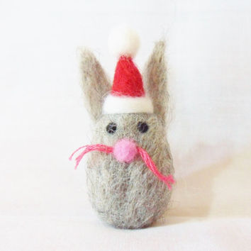 Needle Felted Christmas Rabbit - Christmas Ornament - merino & corriedale wool - Christmas In July - needle felt rabbit