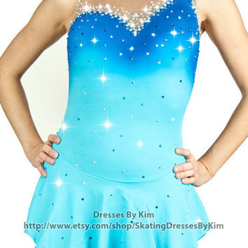 "Custom Figure Skating Dress - ""Mermaid"" / Baton Twirling Dress / Dance Dress"
