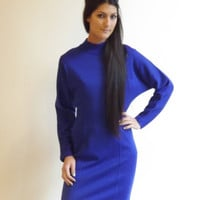 turtleneck sweater dress / royal blue cocktail dress / long sleeve short dress