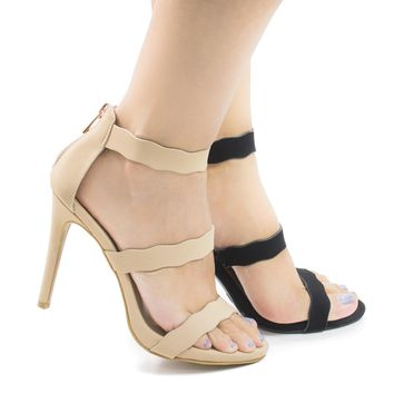 Sugarlove67M Nude By Anne Michelle, Open Toe Wavy Strappy Stiletto High Heel Sandals