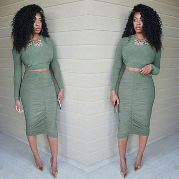 Army Green Long Sleeve Top with Skirt