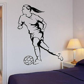 Wall Decal Soccer Woman Football Ball Sport Decor Cool Interior Unique Gift (z2713)