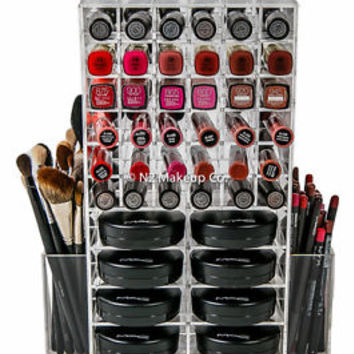 Spinning Acrylic Makeup Organizer Holder | Lipstick & Compact Powder Case Tower