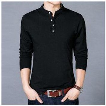 Black Trim Collarless Long Sleeve Polo Shirt