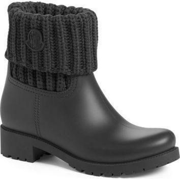 Moncler 'Ginette' Knit Cuff Leather Rain Boot (Women) | Nordstrom
