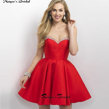 Simple A-line Short Red Cocktail Party Dresses Mini Satin Beaded Vestidos de Coctel Semi-formal Dress for Party