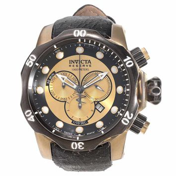 Invicta 15986 Men's Venom Swiss Chronograph Gold Tone Dial Black Leather Strap Dive Watch