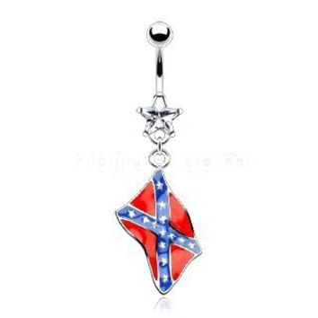 Body Accentz™ Belly Button Ring Navel Rebel Flag Star Body Jewelry Dangle 14 Gauge HO287