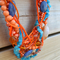Orange and Turquoise Necklace, Gemstone Necklace, Beaded Jewelry with Malaysia Marble Stones, Wedding Necklace